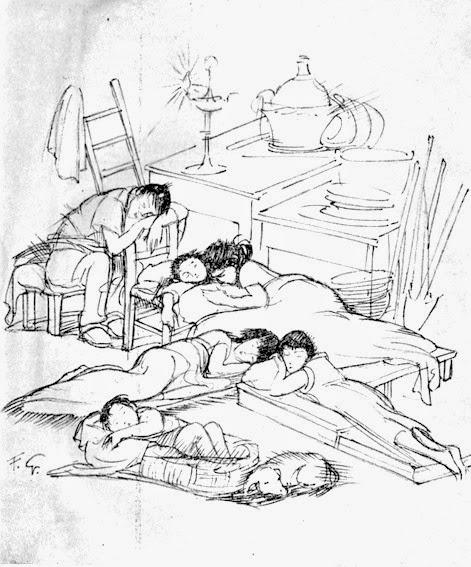 Gli sfrattati dai bombardamenti, uno splendido disegno di F.Galante