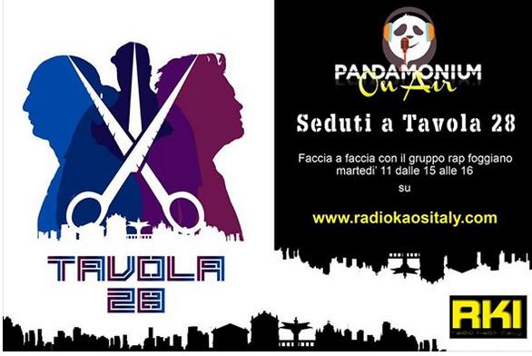 I Tavola 28 a Radio Kaos. Da non perdere.