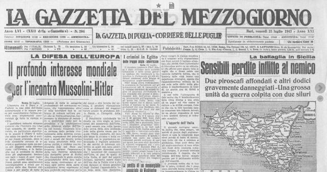 """I bombardamenti """"oscurati"""" dalla Gazzetta del Mezzogiorno"""