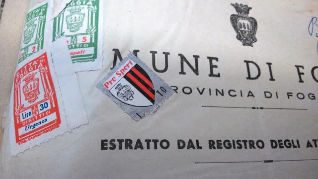 Quando sui certificati comunali c'era lo stemma del Foggia