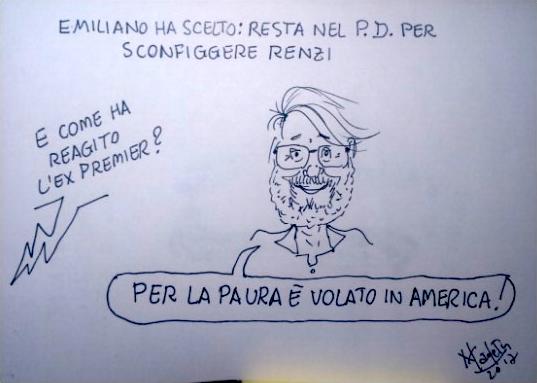 Emiliano si candida? E Renzi per la paura vola in America…