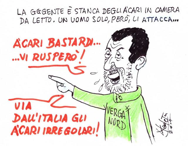 "Salvini: ""Acari bastardi, vi rusperò"""