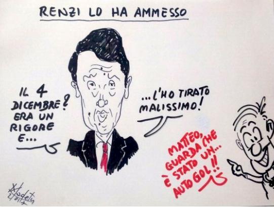 Renzi sconfitto al referendum: rigore sbagliato, o un autogol?
