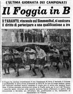 1960, il Foggia promosso. Assieme alla città.